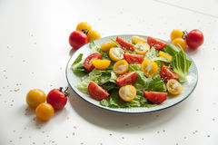 Salad with red and yellow tomatoes. Bright and fresh salad with red and yellow tomatoes royalty free stock photo