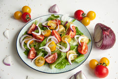 Salad with red and yellow tomatoes. Bright and fresh salad with red and yellow tomatoes royalty free stock photos