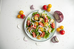 Salad with red and yellow tomatoes. Bright and fresh salad with red and yellow tomatoes Stock Photography