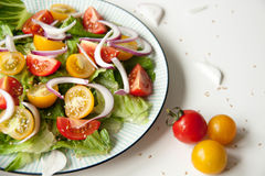 Salad with red and yellow tomatoes. Bright and fresh salad with red and yellow tomatoes Royalty Free Stock Images