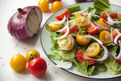 Salad with red and yellow tomatoes. Bright and fresh salad with red and yellow tomatoes stock photos
