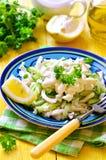 Salad from rice,calamari and fresh cucumber. Royalty Free Stock Image