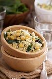 Salad with rice, chickpeas, spinach, raisins Stock Photos