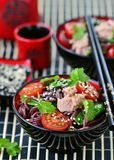 Salad from rice noodles with a tuna Stock Images