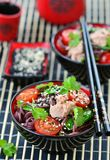 Salad from rice noodles with a tuna Stock Photo