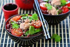 Salad from rice noodles with a tuna Stock Image