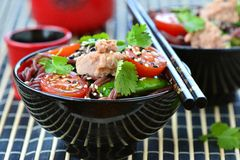 Salad from rice noodles with a tuna Royalty Free Stock Images