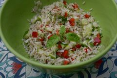 Salad of rice and vegetables Royalty Free Stock Image