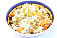 Salad of rice with peas and carrots Stock Photography