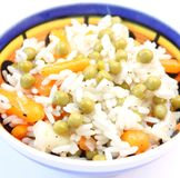Salad of rice with peas and carrots Royalty Free Stock Photos
