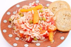 Salad of rice with peas and carrots Stock Photo