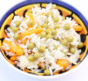 Salad of rice, peas and carrots Stock Photo