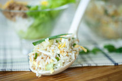 Salad with rice and tuna Royalty Free Stock Images