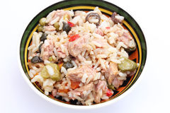 A salad of rice and tuna fish Royalty Free Stock Images