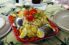 Salad of rices, eggs and vegetables. Royalty Free Stock Images