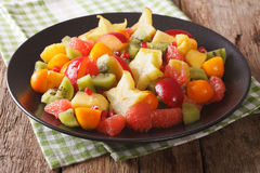 Salad of ripe tropical fruits close-up on a plate. horizontal Stock Photos