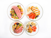 Salad with roast beef and chicken meat Royalty Free Stock Images