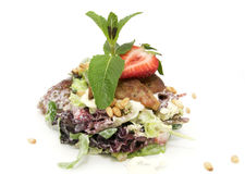 Salad and Roast goose liver Stock Images
