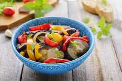 Salad from roasted aubergine, sweet pepper and onion Stock Images
