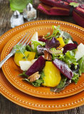 Salad with roasted beetroot, apple and pecans Stock Photo