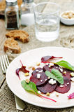 Salad with roasted beets, goat cheese, mangold and pistachios Royalty Free Stock Images