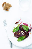 Salad with roasted beets, goat cheese, mangold and pistachios Royalty Free Stock Photo