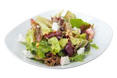 Salad of roasted beets, goat cheese and pine nuts Stock Image