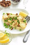 Salad with roasted cauliflower and green peas, almonds Royalty Free Stock Photography