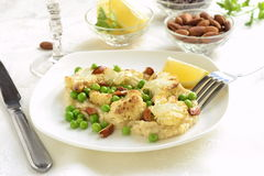 Salad with roasted cauliflower and green peas, almonds Royalty Free Stock Image