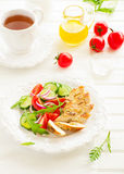 Salad with roasted chicken breast. Royalty Free Stock Photo