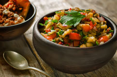 Salad of roasted eggplant and peppers Stock Images