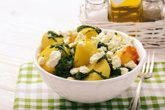 Salad with roasted potatoes , spinach and feta. Royalty Free Stock Images