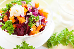 Salad with roasted vegetables and mayonnaise Royalty Free Stock Photography