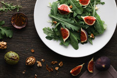 Salad with rocket leaves and figs Royalty Free Stock Images