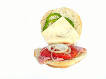 Salad roll. Ham salad roll open stock photography