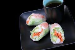 Salad Roll on Black Stock Photography