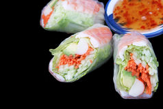 Salad Roll & Chili Sauce stock image