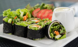Salad roll. Close up shot of salad roll on the white dish Stock Photo