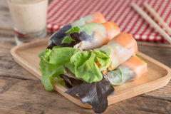 Salad roll vegetables with salad dressing. Royalty Free Stock Photos