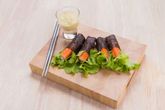 Salad roll vegetables with seaweed wrap. Royalty Free Stock Photo