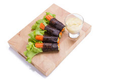 Salad roll vegetables with seaweed wrap. Royalty Free Stock Photos