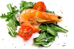Salad of rucola with shrimp Stock Images