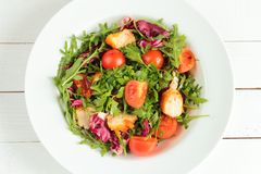Salad with rucola, tomatos and chicken Stock Images