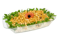 Salad from rusks. On isolated background Royalty Free Stock Photo