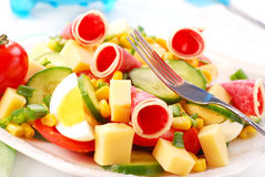 Salad with salami and cheese Royalty Free Stock Photography