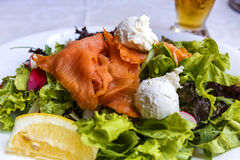 Salad with salmon, cheese and fresh vegetables Stock Photo