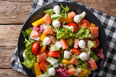 Salad with salmon fish, mozzarella cheese and fresh vegetables c Royalty Free Stock Photos