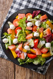 Salad with salmon fish, mozzarella cheese and fresh vegetables c Stock Photography