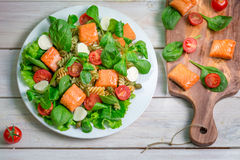 Salad with salmon and fresh vegetables Stock Image