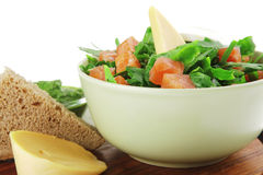 Salad with salmon in green bowl Royalty Free Stock Photography